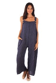 Sands - Striped Linen Dungarees with Buttons (12 Colours)