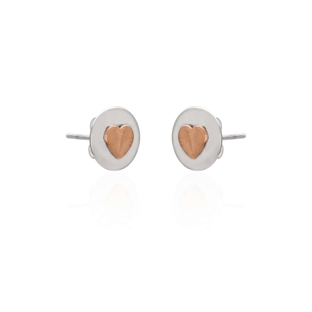 Sands Copper & Silver Heart Disc Studs