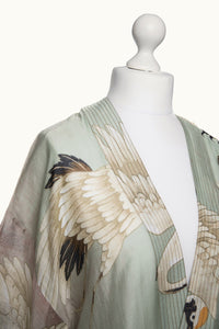 One Hundred Stars Stork Aqua Kimono