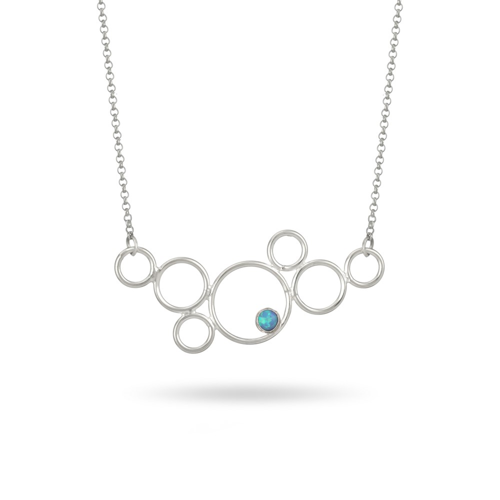 Sands Silver Circle Opal Necklace