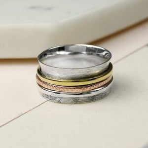 Sands Silver Brushed Spinning Ring With Triple Bands - Sands Boutique clothing and gifts