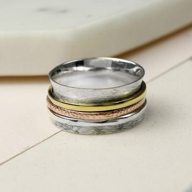 Sands Silver Brushed Spinning Ring With Triple Bands