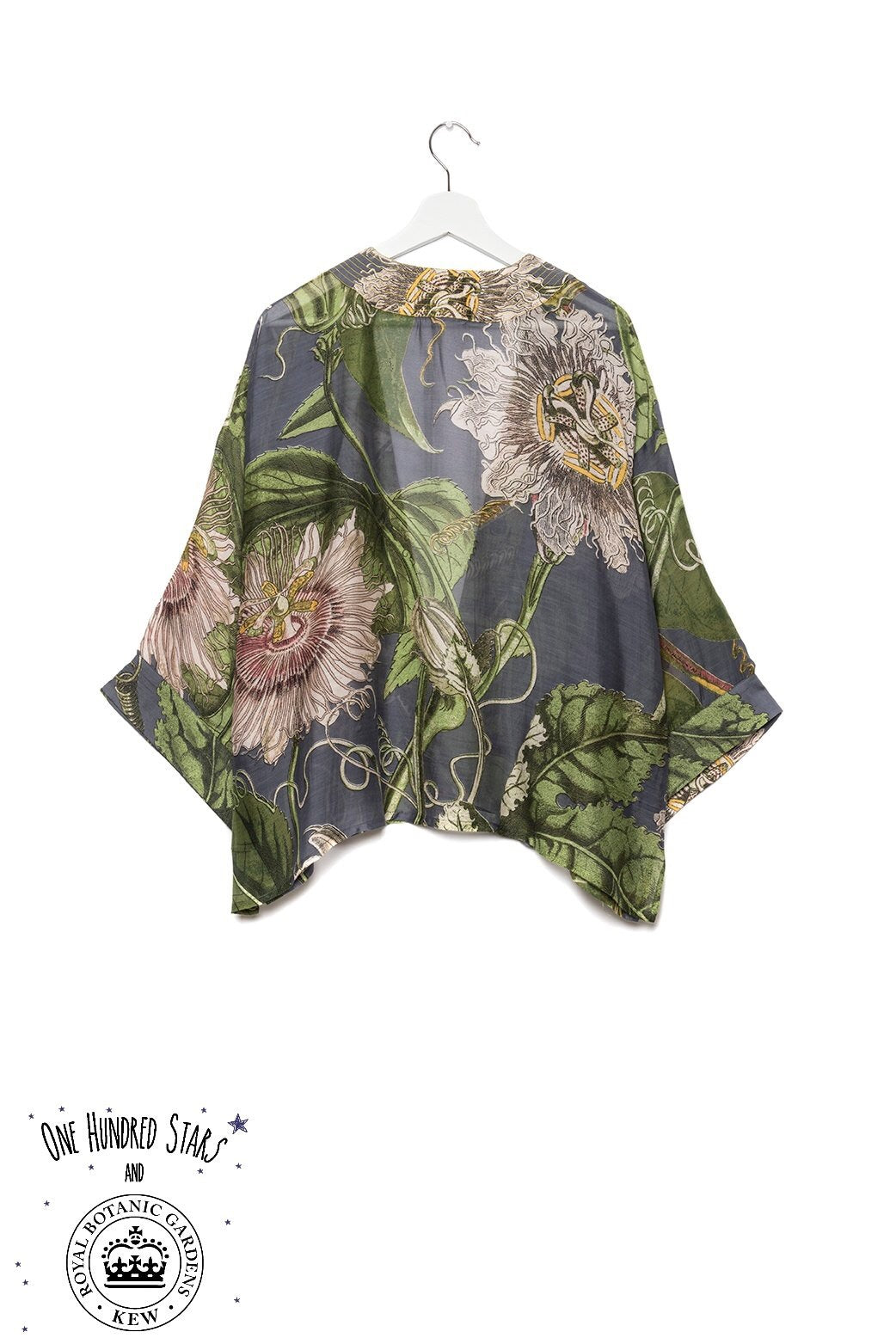 One Hundred Stars & KEW RBG Passion Flower Grey Kimono