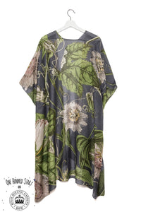 One Hundred Stars & KEW RBG Passion Flower Grey Throwover - Sands Boutique clothing and gifts