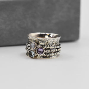 Sands Exclusive Silver 925 Topaz, Moonstone and Amethyst Spinner Ring - Sands Boutique clothing and gifts