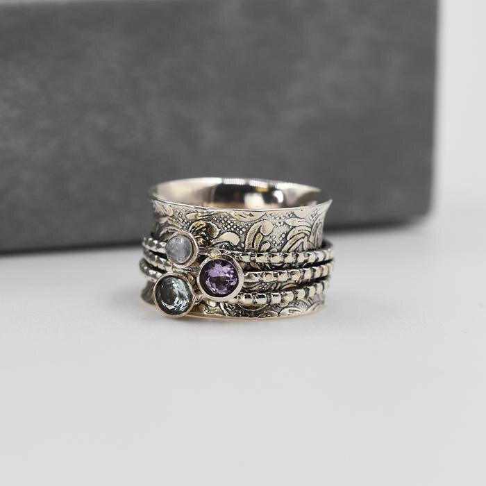 Sands Exclusive Silver 925 Topaz, Moonstone and Amethyst Spinner Ring