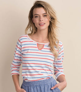 Hatley 3/4 sleeve Tee - Coral Stripes - Sands Boutique clothing and gifts