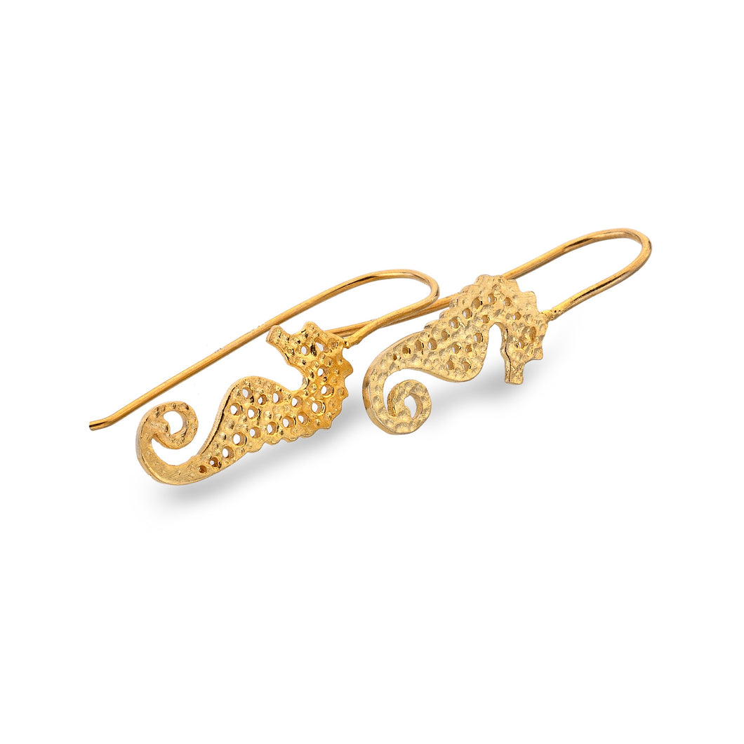 Silver Origins Gold Plated Silver Seahorse Earrings - Sands Boutique clothing and gifts