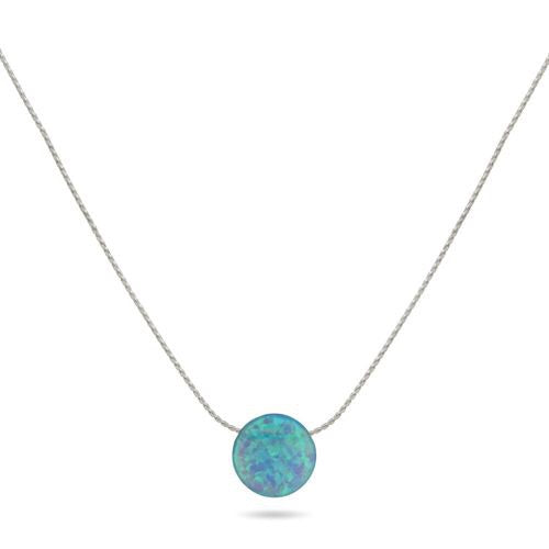 Sands Silver Single Stone Aqua Necklace