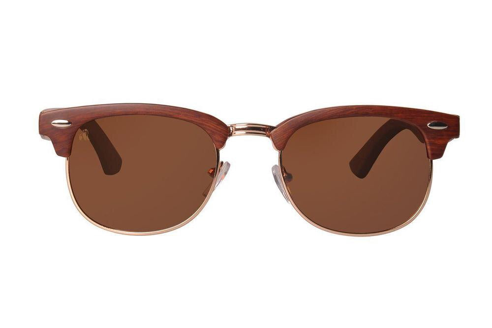 Swole Panda Clubmaster Bamboo Sunglasses Matte Brown/Sepia Lenses - Sands Boutique clothing and gifts