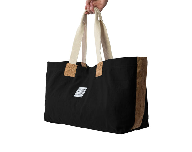 risdon and risdon canvas cork market tote bag vegan sustainable shopping beach college gym baby changing luggage school college book accessory designed in England handmade in Britain black