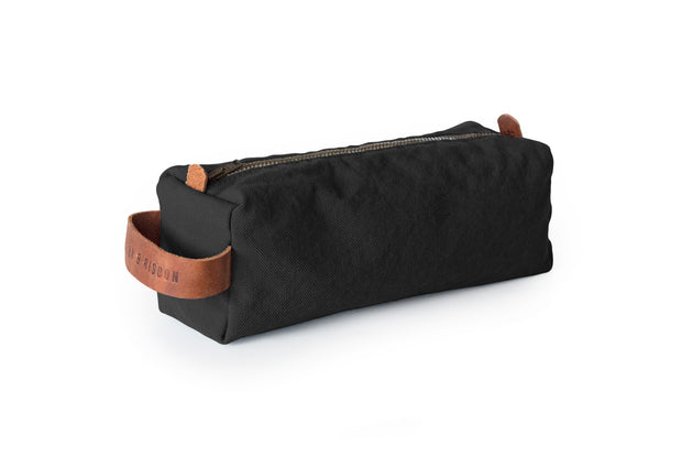 risdon & risdon artist canvas pencil case organiser pen brush tool storage leather detail handmade in england british manufactured carry holder minimal accessory black
