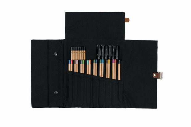 risdon & risdon artist roll dry wax canvas pencil pen brush tool wrap handmade in england british manufactured storage carry case holder minimal black accessory