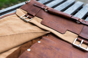 Handmade Leather Canvas Denim Kniferoll UK British Design Knife Roll Chef Bespoke Risdon & Risdon Rivets Riveted