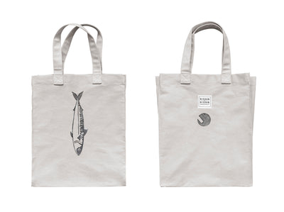 risdon & risdon shopper tote bag for life limited edition charity black mackerel print cornwall artist ash grey minimal eco lifestyle accessory