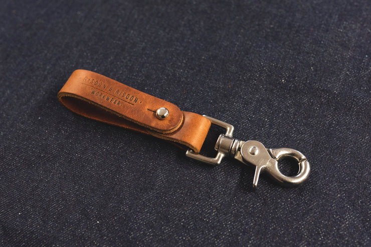Leather keyring handmade in the UK split ring risdon & risdon trigger clip