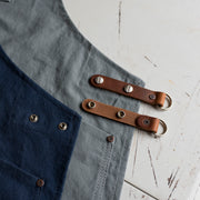 Made in England Risdon and Risdon luxury canvas and leather apron pockets Italian leather straps premium handmade in the uk British Design navy heritage grey detail