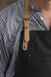 Made in England Risdon and Risdon black canvas and cork vegan apron with cork trim handmade in the uk British Design cork