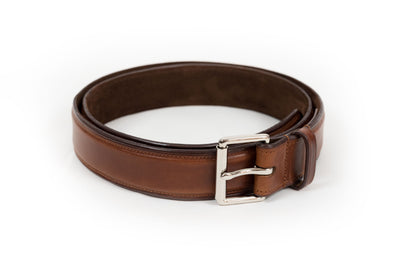 Hand Finished Full Grain Leather Belt - Suede Lined.