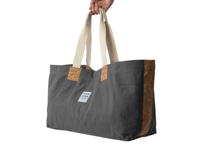 risdon and risdon canvas cork market tote bag vegan sustainable shopping beach college gym baby changing luggage school college book accessory designed in England handmade in Britain heritage grey