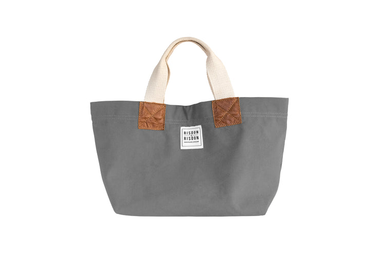 risdon and risdon mini canvas and leather bag made in the uk british design heritage grey
