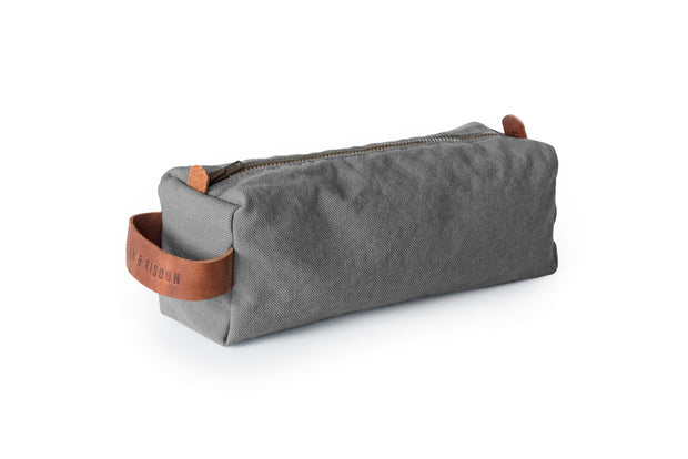 risdon & risdon artist canvas pencil case organiser pen brush tool storage leather detail handmade in england british manufactured carry holder minimal accessory grey
