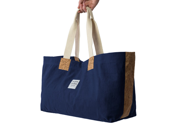risdon and risdon canvas cork market tote bag vegan sustainable shopping beach college gym baby changing luggage school college book accessory designed in England handmade in Britain navy