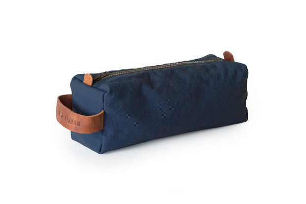 risdon & risdon artist canvas pencil case organiser pen brush tool storage leather detail handmade in england british manufactured carry holder minimal accessory navy