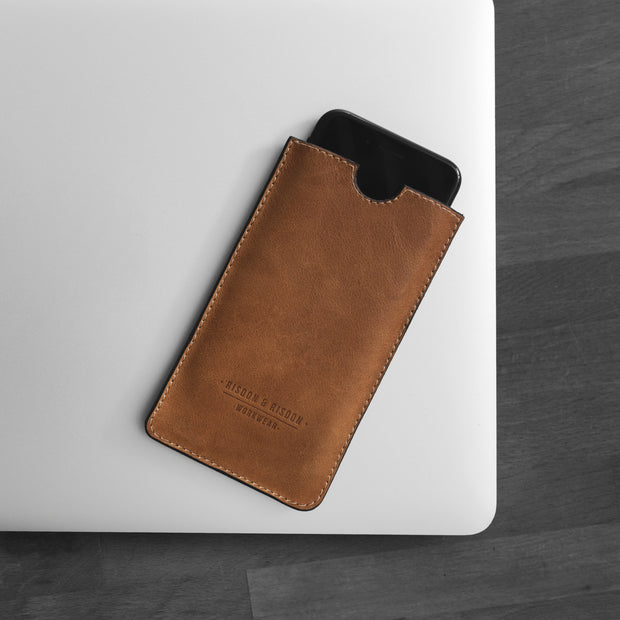Handmade Leather Phone Sleeve Risdon & Risdon British Design UK For iPhone or Android or windows phone