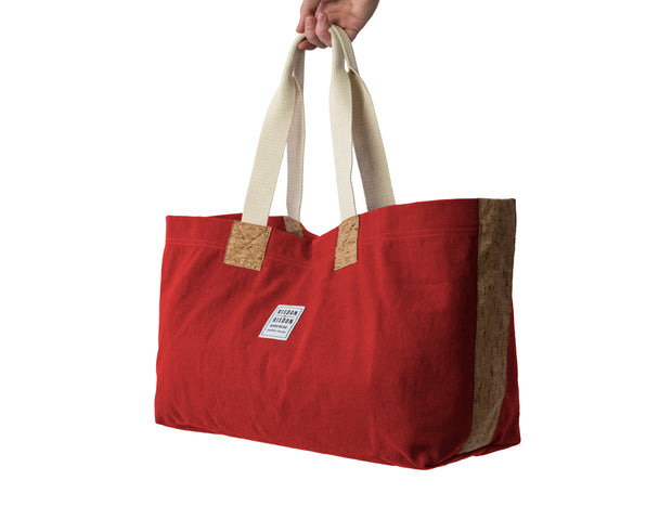 risdon and risdon canvas cork market tote bag vegan sustainable shopping beach college gym baby changing luggage school college book accessory designed in England handmade in Britain factory red