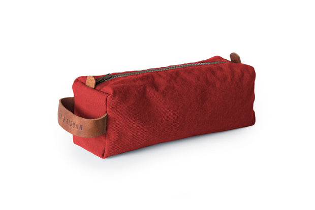 risdon & risdon artist canvas pencil case organiser pen brush tool storage leather detail handmade in england british manufactured carry holder minimal accessory red