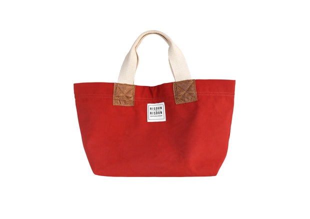 risdon and risdon mini canvas and leather bag made in the uk british design factory red