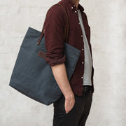 risdon and risdon waxed canvas and leather tote bag made in england horween leather british canvas