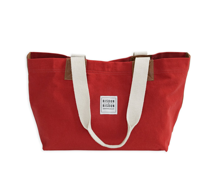 risdon and risdon canvas and leather market bag made in england uk shopper red