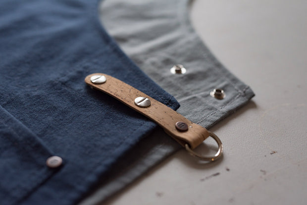 Made in England Risdon and Risdon navy grey canvas and cork vegan apron with cork trim handmade in the uk British Design cork