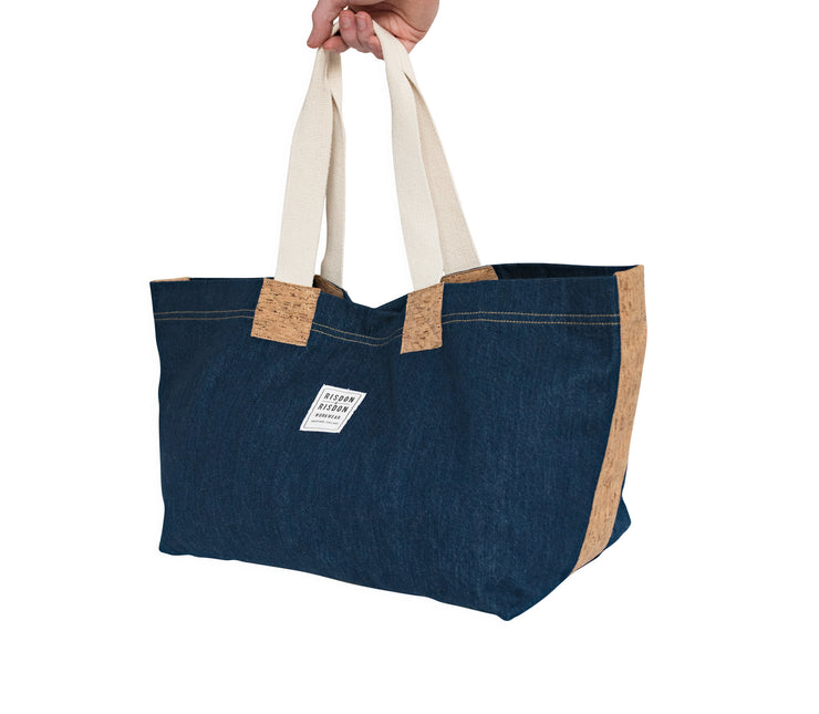 risdon and risdon canvas cork market tote bag vegan sustainable shopping beach college gym baby changing luggage school college book accessory designed in England handmade in Britain candiani denim
