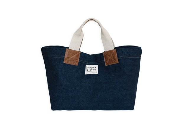risdon and risdon mini denim and leather bag made in the uk british design candiani denim