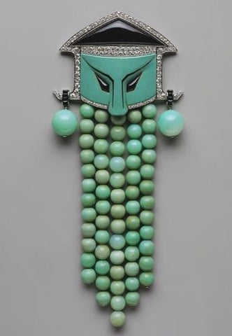 Jade, onyx, and diamond dress ornament by Georges Fouquet, 1923