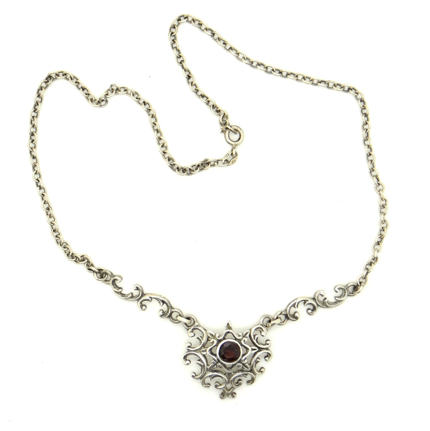 Edwardian sterling Silver garnet necklace