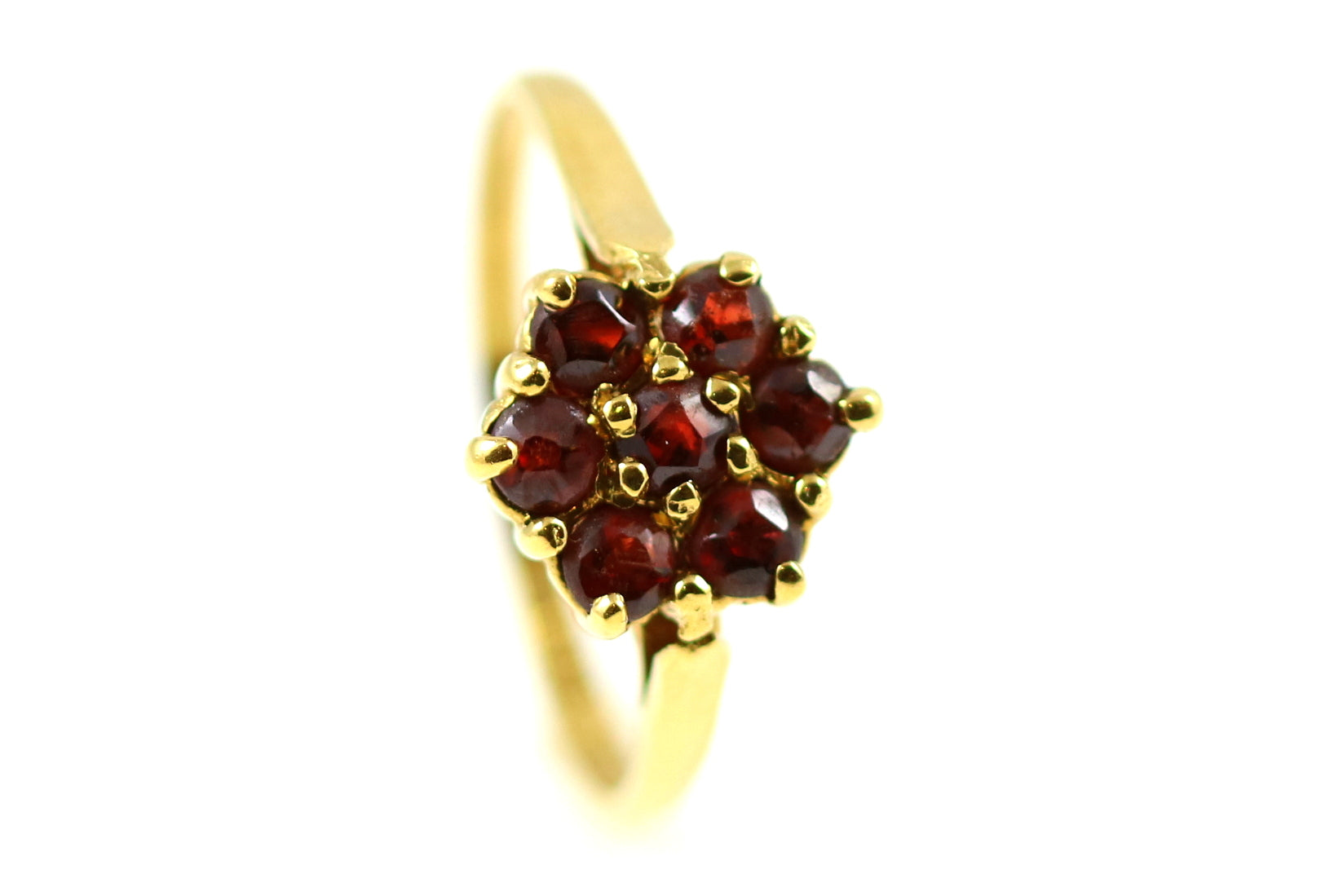 Sweet Vintage 9ct Gold Garnet Cluster Ring-Circa 1979