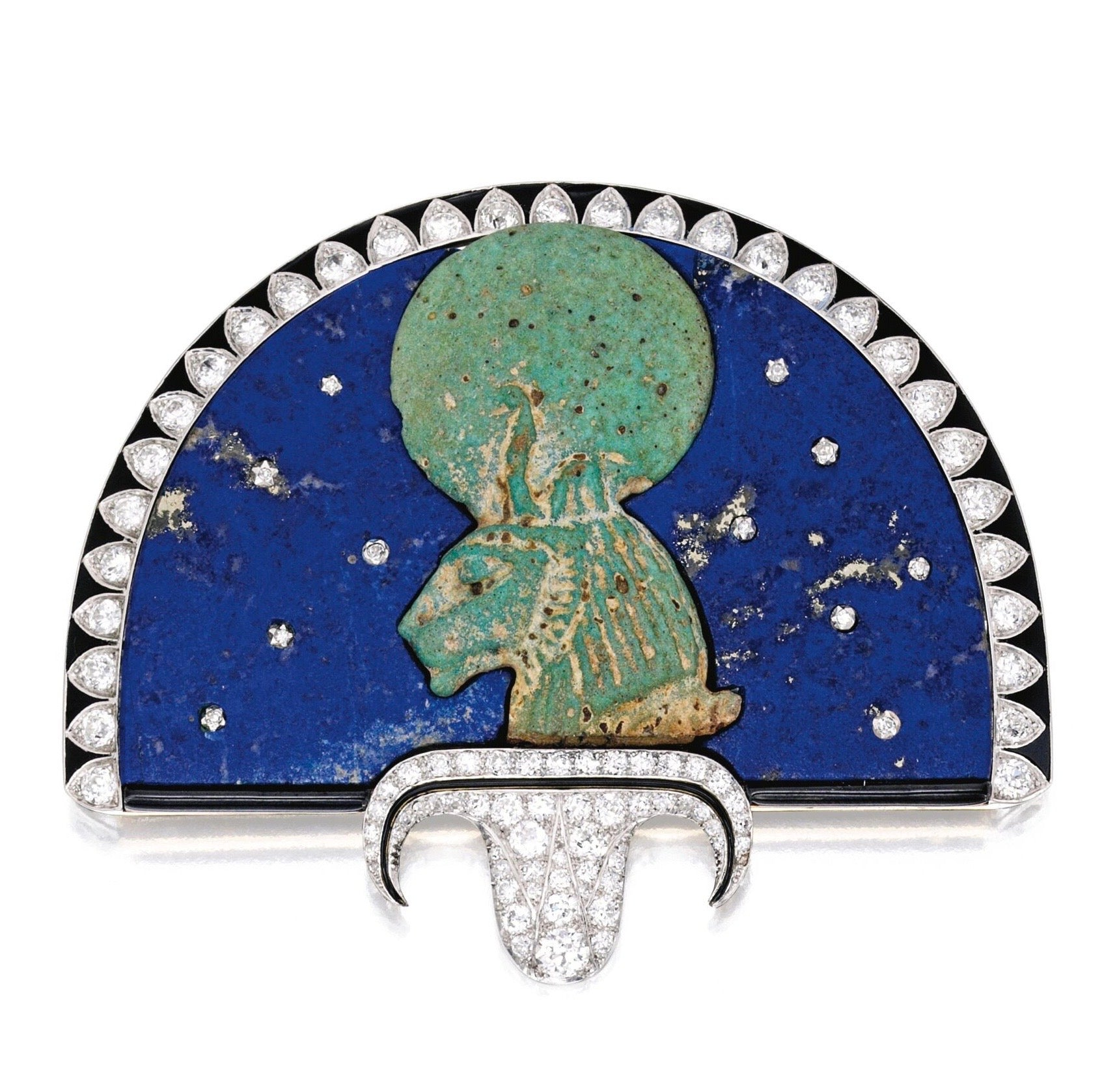 Rare Cartier Egyptian Revival Jewelled Brooch, c.1924