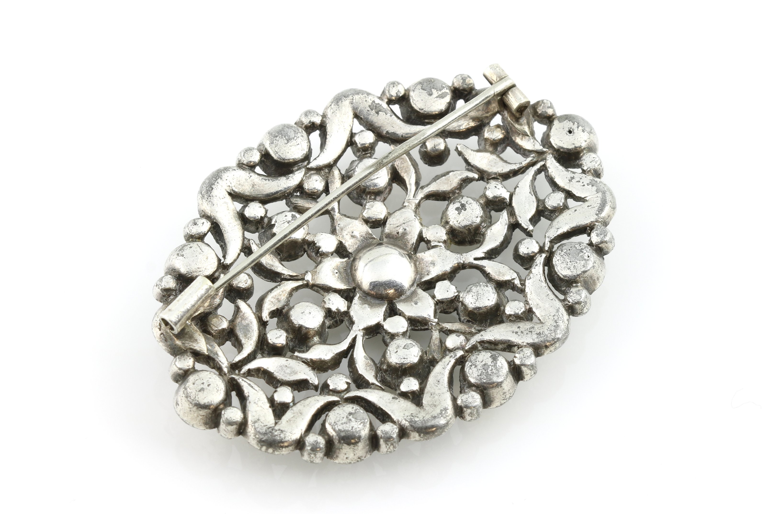 Victorian Silver-plated paste brooch