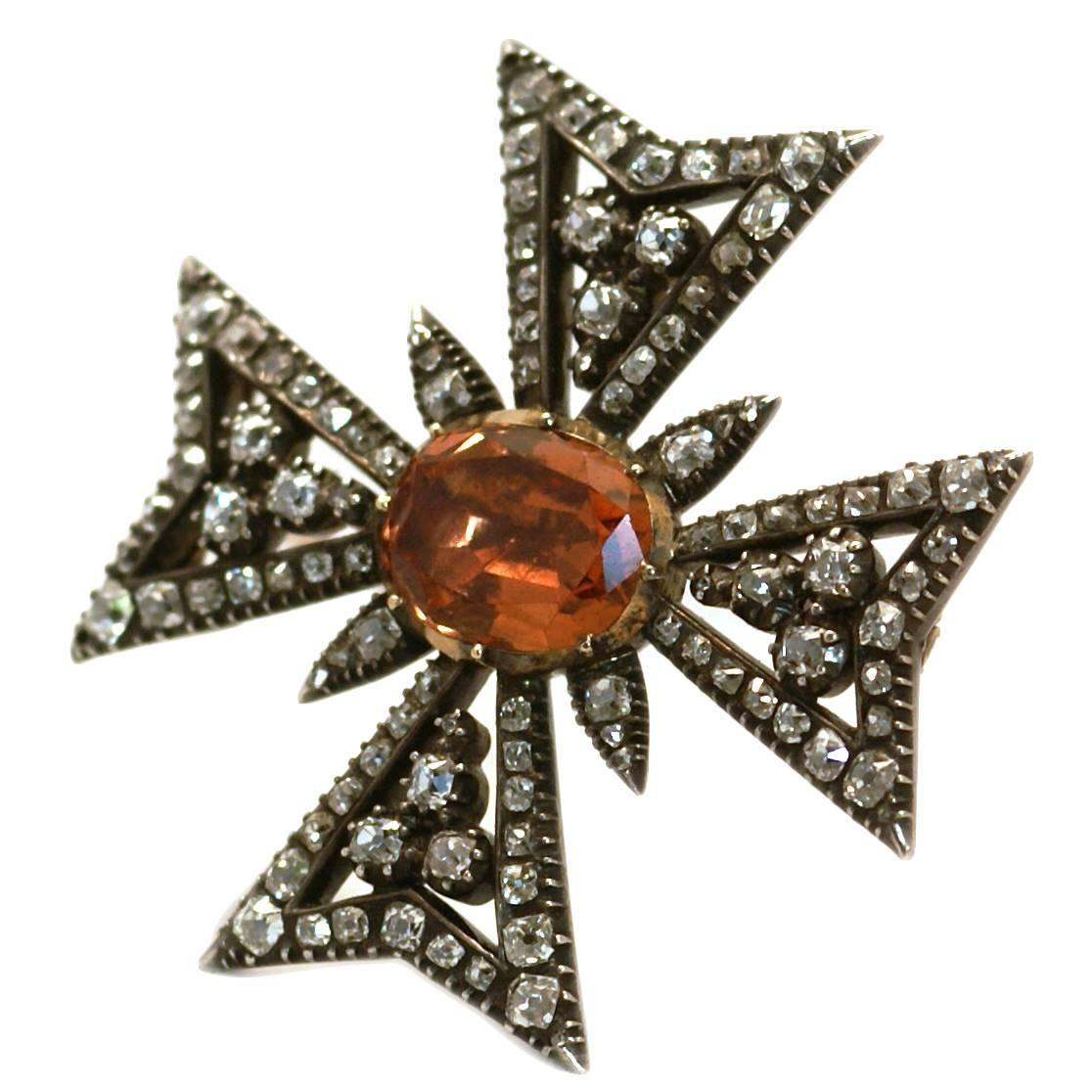 Antique Imperial Topaz and Diamond brooch