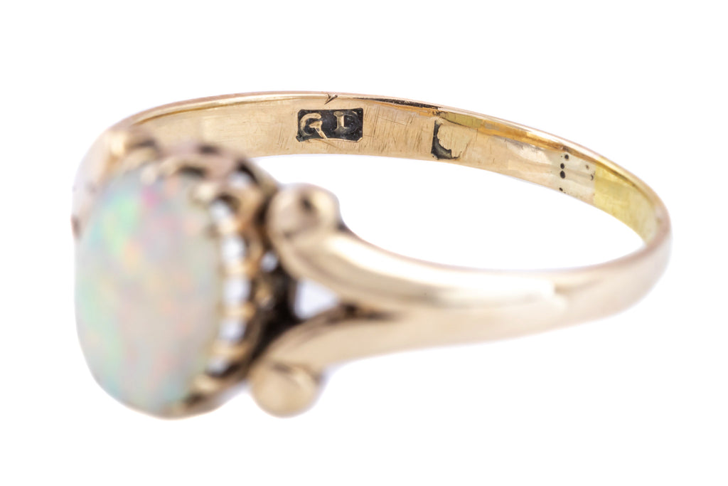 Sweet Antique 9ct Gold Opal Ring -c.1900 (Plus resizing to an M)