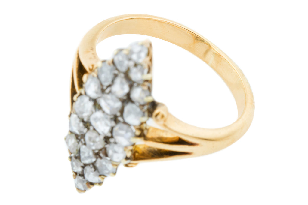 Victorian 18ct Gold Diamond Navette Ring (2.0cts)