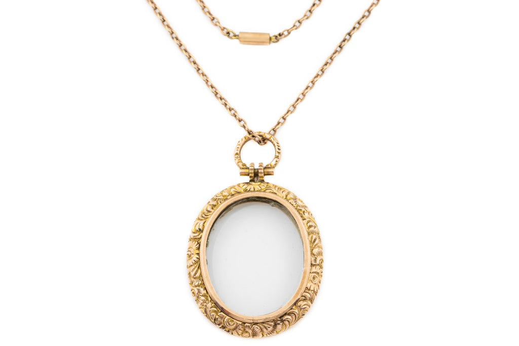 "Antique Gold Locket with 19"" Antique Chain"