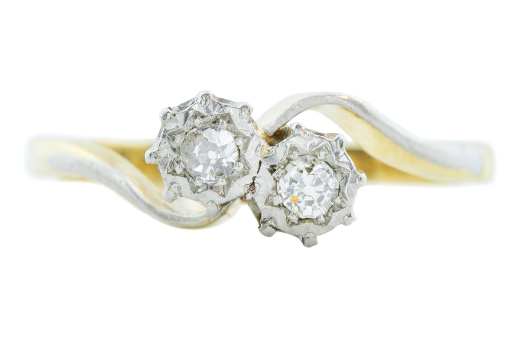 "Art Deco 18ct Gold ""Toi et Moi"" Diamond Ring"