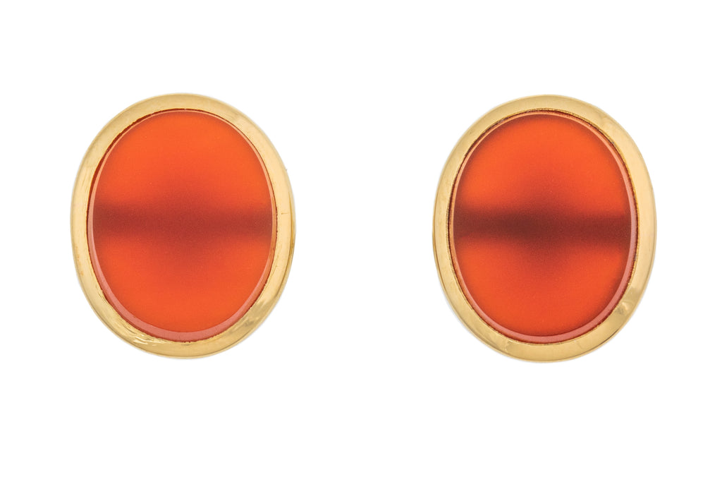 Victorian 9ct Gold Carnelian Stud Earrings
