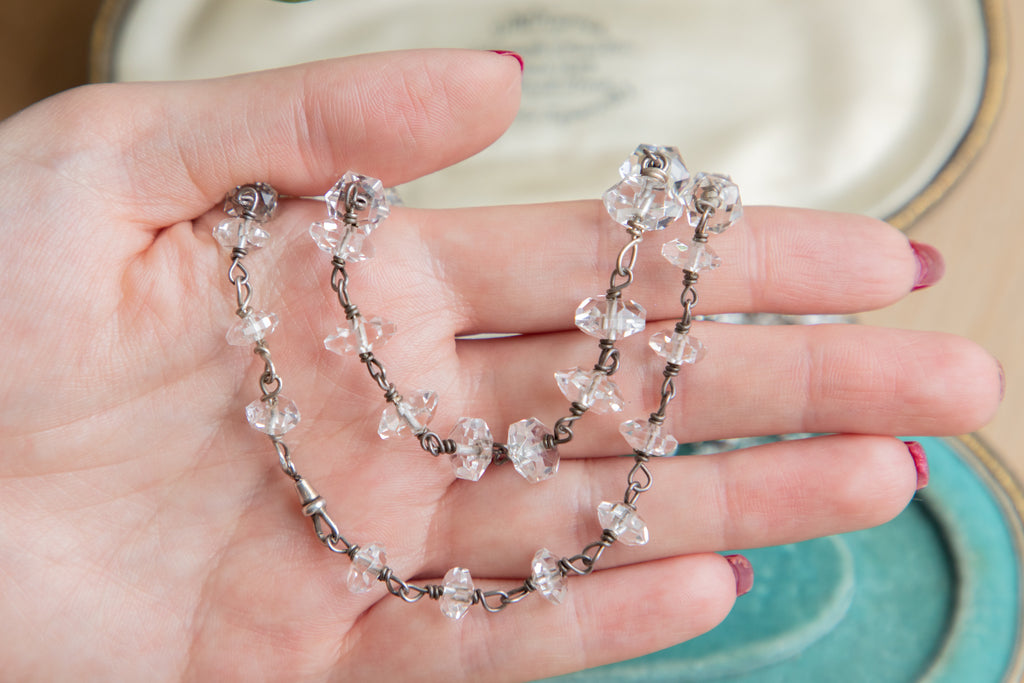 Arts & Crafts Era Rock Crystal Necklace c.1910, 33""