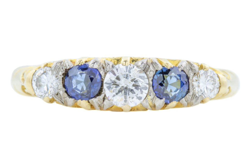 18ct Gold Five Stone Diamond and Sapphire Ring